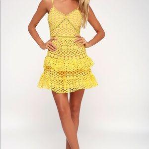 Lulu's yellow crochet lace mini dress